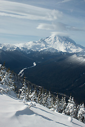 North America, United States, Washington, view of Mt. Ranier and White River from Crystal Mountain