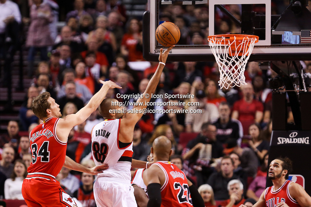 Nov. 21, 2014 - NICOLAS BATUM (88) drives to the basket. The Portland Trail Blazers play the Chicago Bulls at the Moda Center on November 21, 2014.