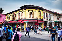 A street scene on Sunday afternoon in Little India, Singapore.