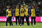 Essex celebrate the wicket of Riki Wessels during the Vitality T20 Finals Day 2019 match between Worcestershire County Cricket Club and Essex County Cricket Club at Edgbaston, Birmingham, United Kingdom on 21 September 2019.