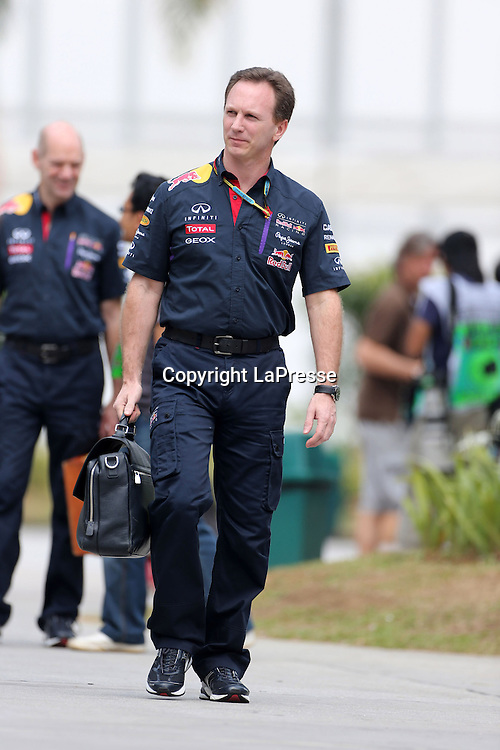 &copy; Photo4 / LaPresse<br /> 29/3/2014 Sepang, Malaysia<br /> Sport <br /> Grand Prix Formula One Malaysia 2014<br /> In the pic: Christian Horner (GBR), Red Bull Racing, Sporting Director