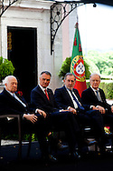 The three former presidents of Portugal, Mario Soares (1986-1996), Ramalho Eanes (1976-1986), Jorge Sampaio (1996-2006) and Cavaco Silva (second from left), current Portuguese President of the Republic, in the ceremonies of the 37 Anniversary of April 25. Date of the revolution in Portugal which destornou the dictatorial regime of Salazar and ordered democracy. Also known as the Carnation Revolution.