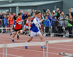 All in his Stride Oran Murphy from Claremorris pictured competing in the boys U10 80m hurdles at Mayo Community Games in Claremorris recently.<br />