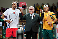 (L) Lukasz Kubot of Poland & (C) Lech walesa former Presdent of Poland & (R) Lleyton Hewitt from Australia pose to picture before the BNP Paribas Davis Cup 2013 between Poland and Australia at Torwar Hall in Warsaw on September 13, 2013.<br /> <br /> Poland, Warsaw, September 13, 2013<br /> <br /> Picture also available in RAW (NEF) or TIFF format on special request.<br /> <br /> For editorial use only. Any commercial or promotional use requires permission.<br /> <br /> Photo by © Adam Nurkiewicz / Mediasport