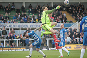 Joe Fryer (Hartlepool United) punches the ball clear during the EFL Sky Bet League 2 match between Hartlepool United and Carlisle United at Victoria Park, Hartlepool, England on 14 April 2017. Photo by Mark P Doherty.