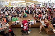 Resting area along the Decumanus, the main avenue of Expo 2015, Rho-Pero, Milan, Saturday, July 11, 2015. &copy; Carlo Cerchioli<br /> <br /> Un'area di riposo lungo il Decumanu, il viale principale di Expo 2015, Rho-Pero, Milano, sabato, 11 luglio 2015.
