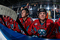 KELOWNA, CANADA - MARCH 16:  Ethan Ernst #19 of the Kelowna Rockets sits on the bench against the Vancouver Giants on March 16, 2019 at Prospera Place in Kelowna, British Columbia, Canada.  (Photo by Marissa Baecker/Shoot the Breeze)