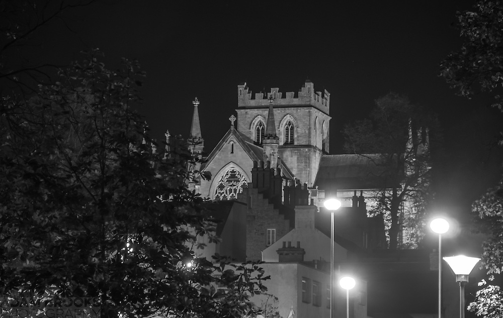 St Patrick's Church of Ireland Cathedral in Armagh at night time. Also available in Colour.