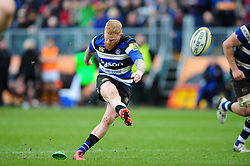 Tom Homer of Bath Rugby kicks for the posts - Mandatory byline: Patrick Khachfe/JMP - 07966 386802 - 04/03/2017 - RUGBY UNION - The Recreation Ground - Bath, England - Bath Rugby v Wasps - Aviva Premiership.