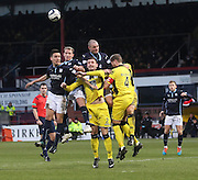 Dundee's Thomas Konrad, Gary Irvine and James McPake attack a corner - Dundee v St Mirren, SPFL Premiership at <br /> Dens Park<br /> <br />  - &copy; David Young - www.davidyoungphoto.co.uk - email: davidyoungphoto@gmail.com