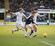 Dundee&rsquo;s Greg Stewart bursts between Inverness&rsquo; Carl Tremarco and Jordan Roberts - Dundee v Inverness Caledonian Thistle - Ladbrokes Scottish Premiership at Dens Park<br /> <br />  - &copy; David Young - www.davidyoungphoto.co.uk - email: davidyoungphoto@gmail.com