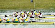 Munich, GERMANY,  Men's four final. GBR M4-. Bow Alex PARTRIDGE, Rick EGINGTON, Alex GREGORY and Matt LANGRIDGE. 2010 FISA World Cup. Munich Olympic Rowing Course, Sunday  20/06/2010   [Mandatory Credit Peter Spurrier/ Intersport Images]