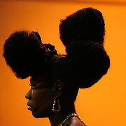 TP_301484_ALLE_Hair.WILLIE J. ALLEN JR. | Times.(Tampa).Amanda Prentice waits in line to strut her Afro Puff hair style in front of the judges.