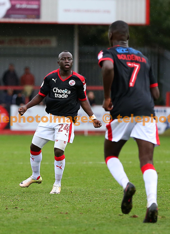 Crawley&rsquo;s Aliu Kaby Djalo celebrates after scoring during the Sky Bet League 2 match between Cheltenham Town and Crawley Town at the Abbey Business Stadium in Cheltenham. October 15, 2016.<br /> James Boardman / Telephoto Images<br /> +44 7967 642437