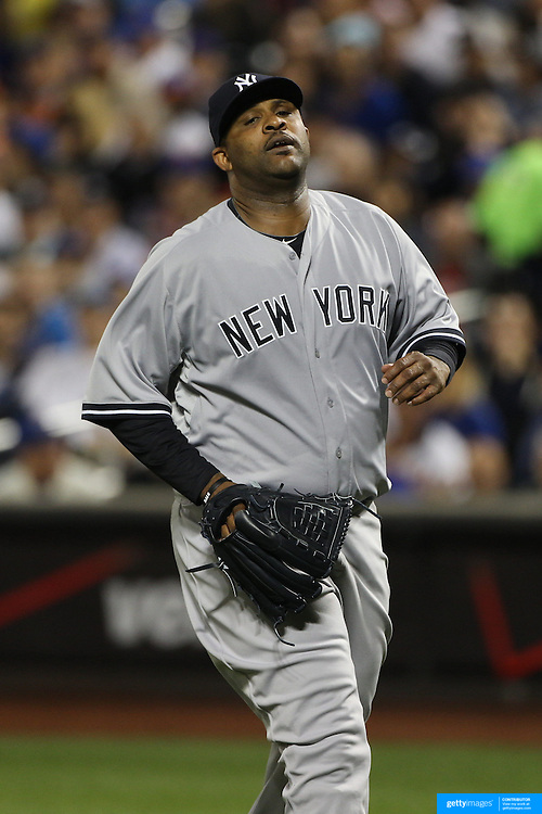 Pitcher CC Sabathia, New York Yankees, pitching during the New York Mets Vs New York Yankees MLB regular season baseball game at Citi Field, Queens, New York. USA. 20th September 2015. Photo Tim Clayton