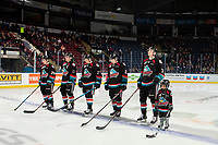 KELOWNA, CANADA - NOVEMBER 23: The Kelowna Rockets' starting line up against the Victoria Royals on November 23, 2018 at Prospera Place in Kelowna, British Columbia, Canada.  (Photo by Marissa Baecker/Shoot the Breeze)