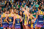 Lightning coach Noeline Taurua speaks to her team.<br /> PERTH, AUSTRALIA - AUGUST 26: West Coast Fever vs the Sunshine Coast Lightning during the Suncorp Super Netball Grand Final match from Perth Arena - Sunday 26th August 2018 in Perth, Australia. (Photo by Daniel Carson/dcimages.org/Netball WA)