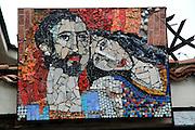 Artwork on display outside Encho Pironkov City Gallery of Fine Arts, Plovdiv, Bulgaria, eastern Europe