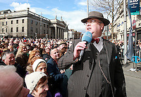 RTE's Joe Duffy pictured during his Easter Monday live broadcast in Dublin's O Connell Street . Picture Credit:Frank Mc Grath<br /> 28/3/16