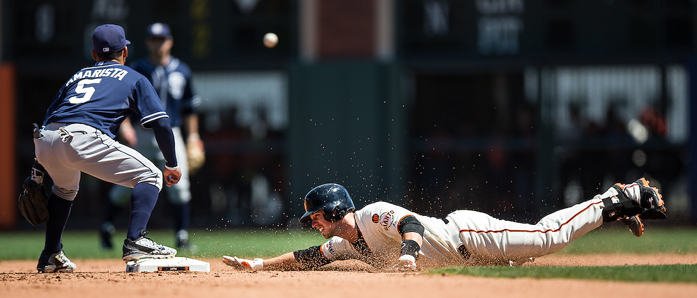 Buster Posey (sliding) and Alexi Amarista (#5), 2015.