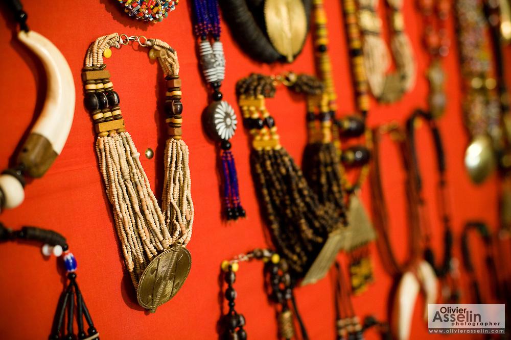Jewelry at the Village Artisanal de Ouagadougou, a cooperative that employs dozens of artisans who work in different mediums, in Ouagadougou, Burkina Faso, on Monday November 3, 2008.