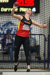 Windsor, Ontario ---2015-03-12--- Niki Oudenaarden of  Calgary competes in the heptathlon shot put at the 2015 CIS Track and Field Championships in Windsor, Ontario, March 15, 2015.<br /> GEOFF ROBINS/ Mundo Sport Images