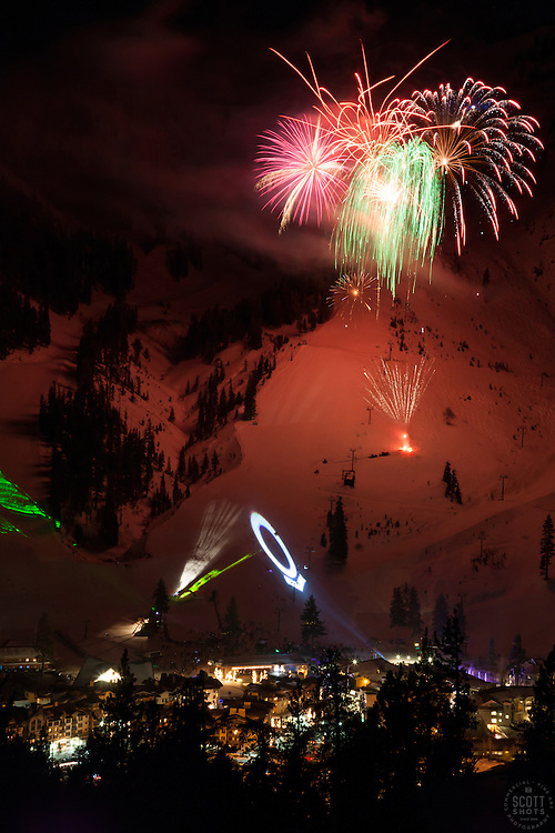 """Fireworks at Squaw Valley 3"" - Photograph of the fireworks show at Squaw Valley Ski Resort during the 2013 North Tahoe SnowFest."