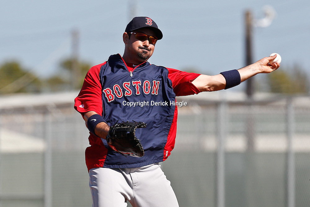 February 19, 2011; Fort Myers, FL, USA; Boston Red Sox first baseman Adrian Gonzalez (28) during spring training at the Player Development Complex.  Mandatory Credit: Derick E. Hingle