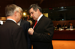 BRUSSELS, BELGIUM - MARCH-07-2005 - Hans Eichel, Germany's Finance Minister left, and Gordon Brown, UK's Finance Minister talk during ECOFIN, the meeting of all the EU Finance and Economic Ministers, Monday, March 7, 2005, in Brussels, Belgium. (Photo © Jock Fistick)