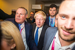© Licensed to London News Pictures. 02/10/2018. Birmingham, UK. Boris Johnson finds himself in the middle of a media scrum today as he makes his way to speak at the Conservative party conference being held at the International Convention Centre in Birmingham. Photo credit: Andrew McCaren/LNP