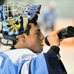NEWMARKET, ON - Feb 13 : Ontario Junior Hockey League Game Action between Newmarket Hurricanes Hockey Club and Burlington Cougars Hockey Club. Josh Morton #30 of the Burlington Cougars Hockey Club during pregame warm up.<br /> (Photo by Phillip Sutherland / OJHL Images)