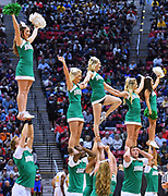 SAN DIEGO, CA - MARCH 18:  Marshall Thundering Herd cheerleaders perform during a second round game of the Men's NCAA Basketball Tournament against the West Virginia Mountaineers at Viejas Arena in San Diego, California. West Virginia won 94-71.  (Photo by Sam Wasson)