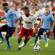 HARRISON, NEW JERSEY- AUGUST 25: Fidel Escobar #29 of New York Red Bulls challenged by Rodney Wallace #23 of New York City FC during the New York Red Bulls Vs New York City FC MLS regular season match at Red Bull Arena, Harrison, New Jersey on August 25, 2017 in Harrison, New Jersey. (Photo by Tim Clayton/Corbis via Getty Images)