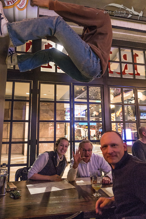 Shan Phillips, CEO of Yuneec USA; Romeo Durscher, Director of Educationat DJI; Jessie Mooberry at Todd English Pub (drone people drinks). CES 2016, Las Vegas.