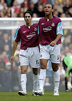 Photo: Olly Greenwood.<br />West Ham United v Arsenal. The Barclays Premiership. 05/11/2006.  West Ham's Anton Ferdinand is dejected to go off injured