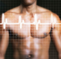 Man with electrocardiogram graph superimposed on chest mid section