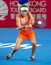 October 14, 2017 - Hong Kong, Hong Kong SAR, China - Wang Qian returns a shot.China's Wang Qiang looses to Russia's Anastasia Pavlyuchenkova during their women's singles semi-final match at the Hong Kong Open tennis tournament on October 14, 2017. (Credit Image: © Jayne Russell via ZUMA Wire)