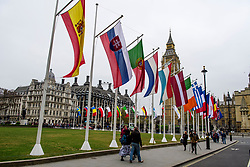 © Licensed to London News Pictures. 08/05/2017. London, UK. The flags of all 27 EU members states (not al pictured) fly around parliament Square, opposite the houses of Parliament in Westminster, London, ahead of Europe Day tomorrow (Tues). Europe Day marks the anniversary of Schuman declaration, which was the basis for the formation of the European Union. Photo credit: Ben Cawthra/LNP