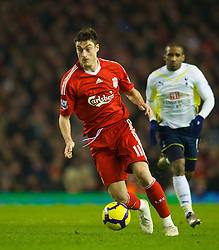 LIVERPOOL, ENGLAND - Wednesday, January 20, 2010: Liverpool's Albert Riera in action against Tottenham Hotspur during the Premiership match at Anfield. (Photo by: David Rawcliffe/Propaganda)