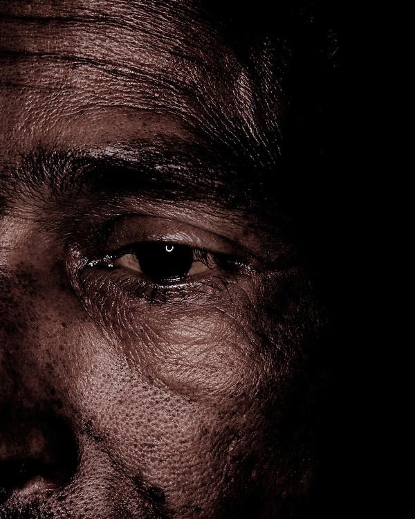Close-up emotional portrait of a man