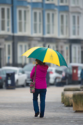© Licensed to London News Pictures. 2/05/2016. CAberystwyth, Wales, UK. A woman with her umbrella out walking in the rain on the deserted promenade on a dismal,  mild ,wet and grey  Bank Holiday Monday in Aberystwyth Wales.  Photo credit: Keith Morris/LNP