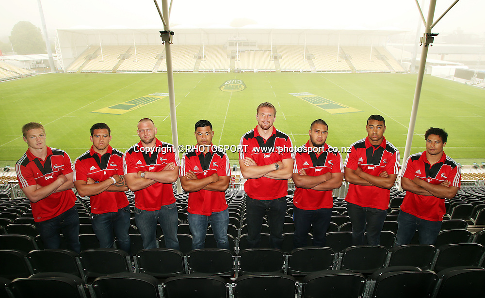 Crusaders new signings from left in front row are Johnny McNicholl, Codie Taylor, Joe Moody, Jordan Tuafua, Dominic Bird, Nepo Laulala and Jimmy Tupou and Shane Christie. Crusaders breakfast new season launch and team announcement for the Super Rugby 2013 season held at AMI Stadium, Christchurch, Wednesday 31 October 2012. Photo : Joseph Johnson/photosport.co.nz