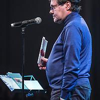 Nederland, Amsterdam, 14 maart 2016.<br /> Op 14 maart presenteert Topnotch, in samenwerking met Nijgh & Van Ditmar, het boek 'Roofstaat.' Op deze avond in Paradiso vindt een avondvullend programma plaats met o.a. de premiére van de nieuwe videoclip van Typhoon: 'We zijn er.' Verder zullen muzikanten, schrijvers en andere sprekers op persoonlijke wijze ingaan op het thema van het boek: de schaduwzijde van de Nederlandse overzeese geschiedenis. <br /> Op de foto: Antoine de Kom kleinzoon van Anton de Kom.<br />  Foto: Jean-Pierre Jans