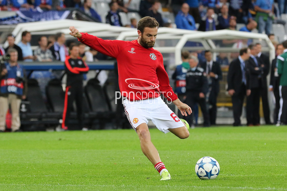 Juan Mata of Manchester United warming up before the Champions League Qualifying Play-Off Round match between Club Brugge and Manchester United at the Jan Breydel Stadion, Brugge, Belguim on 26 August 2015. Photo by Phil Duncan.