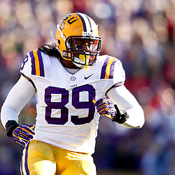 November 17, 2012; Baton Rouge, LA, USA  LSU Tigers defensive end Lavar Edwards (89) against the Ole Miss Rebels during a game at Tiger Stadium. LSU defeated Ole Miss 41-35. Mandatory Credit: Derick E. Hingle-US PRESSWIRE