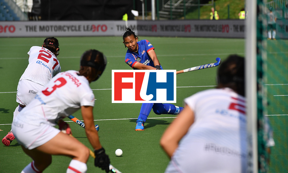 BRUSSELS, BELGIUM - JUNE 22: Siti Ruhani of Malaysia scores the opening goal during the FINTRO Women's Hockey World League Semi-Final Pool B game between Spain and Malaysia on June 22, 2017 in Brussels, Belgium. (Photo by Charles McQuillan/Getty Images for FIH)
