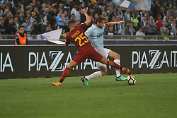 April 15, 2018 - Rome, Lazio, Italy - Senad Lulic versus Bruno Peres.at Stadio Olimpico of Roma. Lazio and Roma tied for 0-0 the ''derby della Capitale'' of Italian Serie A. (Credit Image: © Paolo Pizzi/Pacific Press via ZUMA Wire)