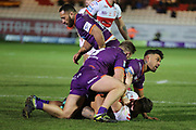 Huddersfield Giants back row forward Kenny Edwards (11) looks up to the referee after tackling a Rovers player during the Betfred Super League match between Hull Kingston Rovers and Huddersfield Giants at the Hull College Craven Park  Stadium, Hull, United Kingdom on 21 February 2020.