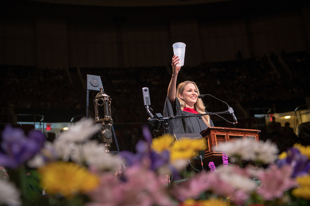 OHIO alumni Allie LaForce  toasts graduates during her Commencement Address at spring undergraduate commencement. Photo by Ben Siegel