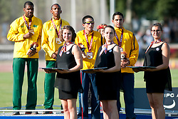 SANTOS Odair Guide: SANTOS Carlos, SOSA William Guide: CHAVARRO DIAZ Cesar, BRA, COL, 1500m, T11, Podium, 2013 IPC Athletics World Championships, Lyon, France